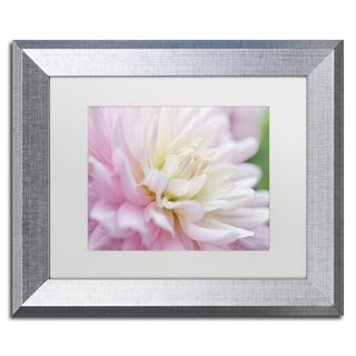 Cora Niele 'White and Pink Dahlia' Matted Framed Art