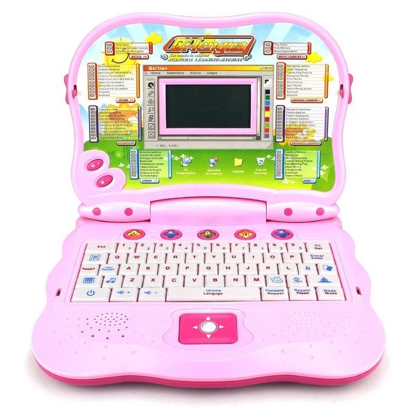 Velocity Toys 2 in 1 Bilingual Study Machine Pink Educational Toy Laptop