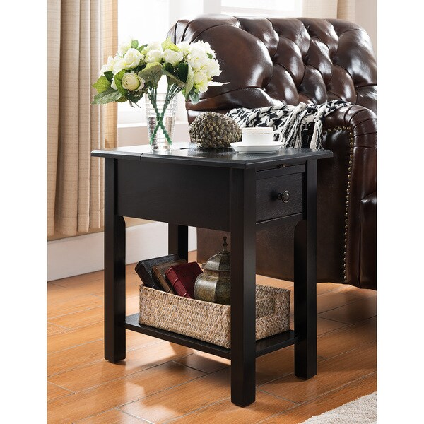 Exceptional Sutton Black Side Table With Charging Station