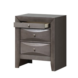Beveled Grey 3-Drawer Nightstand