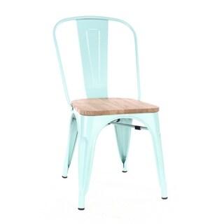 Amalfi Matte Mint and Light Elm Wood Steel Side Chair (Set of 4)
