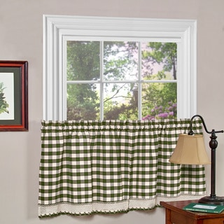 Buffalo Check Polyester Blend Tier Curtain Panels (Set of 2)