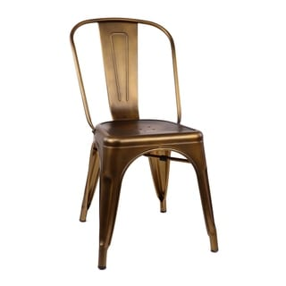 Amalfi Vintage Brass Steel Side Chair (Set of 4)