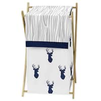 Sweet Jojo Designs Navy and White Woodland Deer Fabric Laundry Hamper