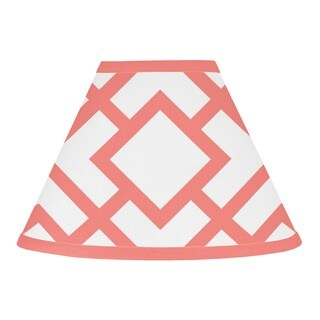 Sweet Jojo Designs White and Coral Mod Diamond Lamp Shade