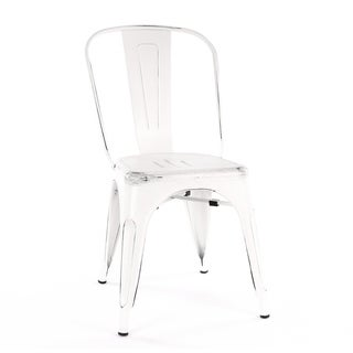 Amalfi Vintage White and Black Steel Side Chair (Set of 4)