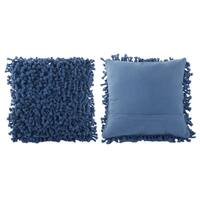 Blue Polyester/Cotton 18-inch x 18-inch Throw Pillow