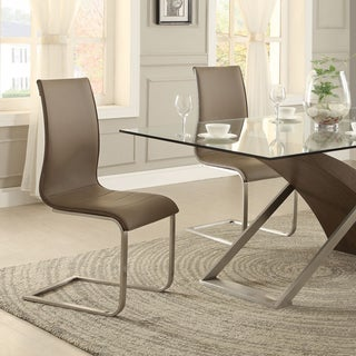Bravo Stainless Steel Sled Upholstered Dining Chair ( Set of 2)