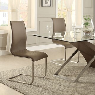 Bravo Stainless Steel Sled Upholstered Dining Chair ( Set of 2) by iNSPIRE Q Bold