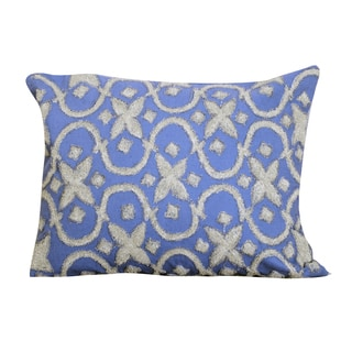 Blue 16-inch x 20-inch Embroidered Throw Pillow
