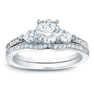 Auriya Platinum 1ct TDW Certified Round Diamond Bridal Ring Set (H-I, SI1-SI2)