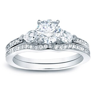 Auriya Platinum 1ct TDW Certified Round 3-Stone Diamond Engagement Ring Set