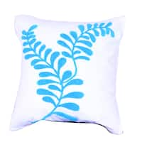 Blue 18-inch Square Embroidered Throw Pillow