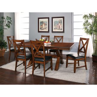 ABBYSON LIVING Braxton Espresso Bonded Leather 7-Piece Acacai Dining Set