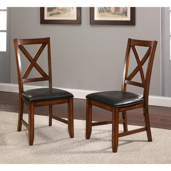 Abbyson Braxton Set Of 2 Espresso Bonded Leather Acacai Dining Chairs
