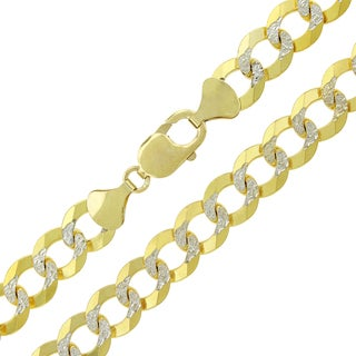 14k Yellow Gold 11.5mm Solid Cuban Curb Link Diamond-cut Pave Chain Necklace