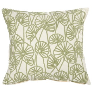 Green Cotton 18-inch x 20-inch Embroidered Throw Pillow