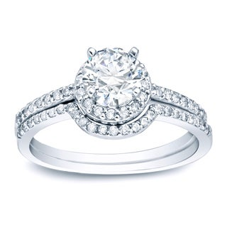 Auriya Platinum 1ct TDW Diamond Bridal Ring Set (H-I, SI1-SI2)