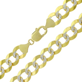 14k Yellow Gold 12.5mm Solid Cuban Curb Link Diamond-cut Pave Chain Necklace