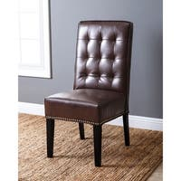 Abbyson Connor Leather Nailhead Trim Dining Chair
