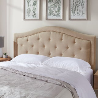 ABBYSON LIVING Sierra Tufted Cream Linen Queen/ Full Headboard