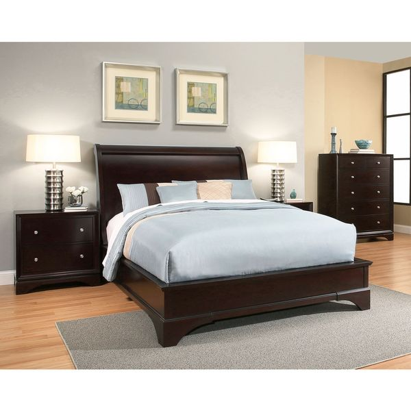 Bedroom Sets Espresso abbyson sydney 4-piece espresso wood bedroom set - free shipping