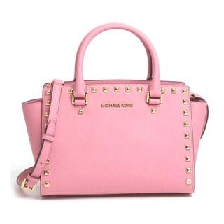 Michael Kors Selma Studded Saffiano Leather Medium Satchel Handbag - Misty Rose