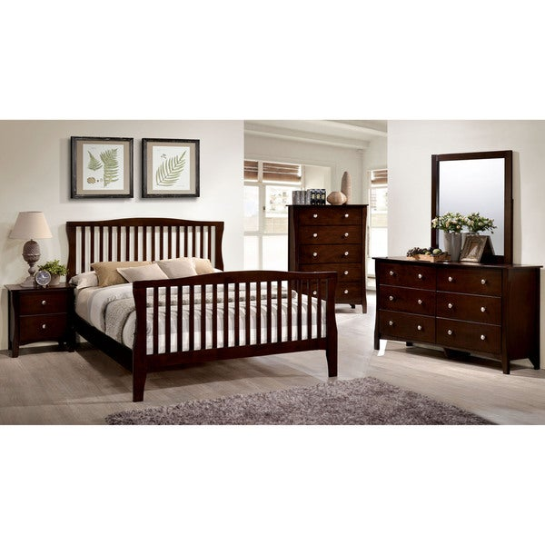 Furniture Of America Raylee Modern Brown Cherry Wood Slatted Bed On Free Shipping Today 12385098