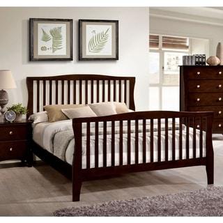 Furniture of America Raylee Modern Brown Cherry Slatted Platform Bed