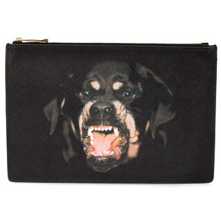 Givenchy Rottweiler Print Clutch Pouch in Black Size Medium