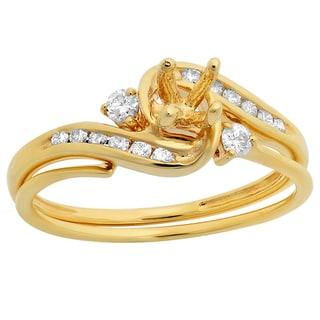 Elora 10k Gold 1/4ct TDW Round Diamond Bridal Semi Mount Engagement Ring Matching Band Set (H-I, I1-I2)