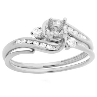 10k Gold 1/4ct TDW Round Diamond Bridal Semi Mount Engagement Ring Matching Band Set (H-I, I1-I2)