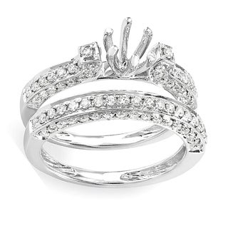 14k White Gold 1ct TDW Brilliant Diamond Vintage Antique Look Semi Mount Bridal Engagement Ring (H-I, I1-I2)