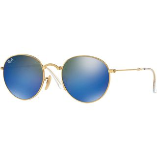 Ray-Ban RB3532 001/68 Round Metal Folding Gold Frame Blue Mirror 50mm Lens Sunglasses
