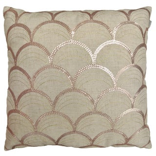 Suzanne Beige Polyester Square Sequined Decorative Pillow