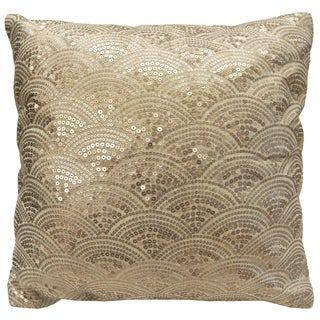 Fan Decorative 18 x 18 Sequinned Throw Pillow Cover