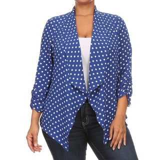 Plus Size Women's Polka Dot Polyester Cardigan