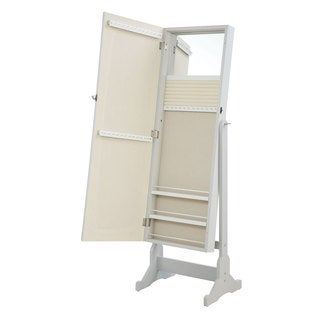 Coaster Company White Beveled Cheval Mirror Jewelry Armoire