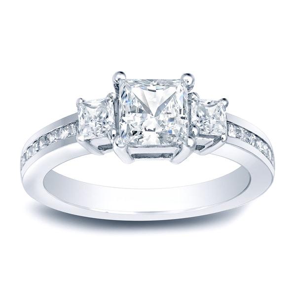 fbb010cc288 Auriya 1 1 2ctw Princess-Cut 3-Stone Diamond Engagement Ring Platinum Gold