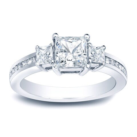 Auriya Platinum 1 1/2ct TDW Certified Princess-Cut 3-Stone Diamond Engagement Ring