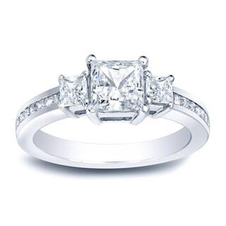 Auriya Platinum 1 1/2ct TDW Certified Princess Diamond Engagement Ring