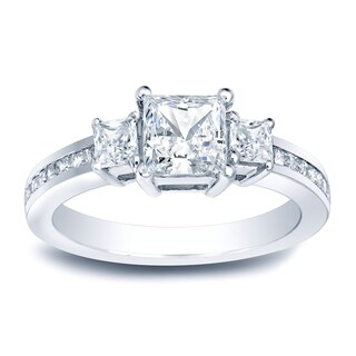 Auriya Platinum 1 1/2ct TDW Certified Princess-Cut 3-Stone Diamond Engagement Ring