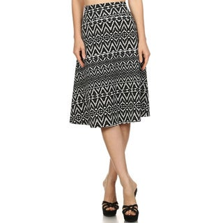 Women's Black/White Polyester Pattern Skirt