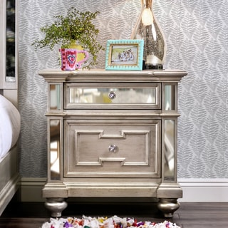 Link to Furniture of America Eaen Glam Champagne Solid Wood Nightstand Similar Items in Living Room Furniture