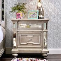 Furniture of America Marisalla Contemporary Champagne Glam Mirrored 2-drawer Nightstand