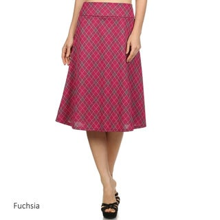 Women's Plaid Polyester/Spandex Flare Skirt
