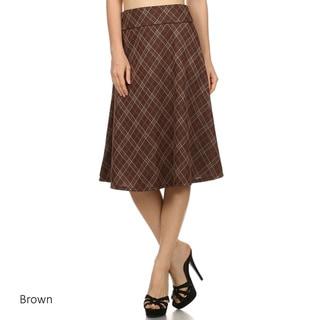 Women's Plaid Polyester/Spandex Flare Skirt