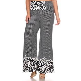 Women's Black/White Paisley Border Plus-size Classic-fit Pants