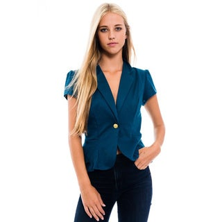 Women's Purple Polyester/Spandex Blazer-style Jacket