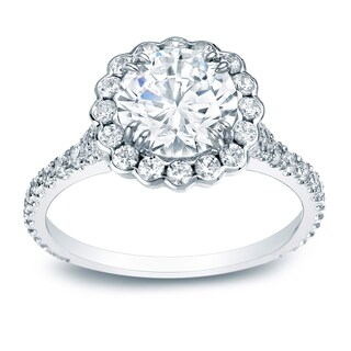 Auriya Platinum 1 1/2ct TDW Certified Round Halo Diamond Engagement Ring (H-I, SI1-SI2)